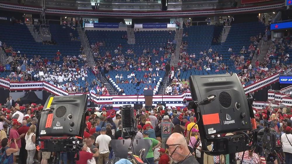 Supporters of President Donald Trump are finding seats inside the Amway Center in Orlando on Tuesday afternoon. The president is expected to formally kick off his re-election campaign tonight. (Spectrum News)