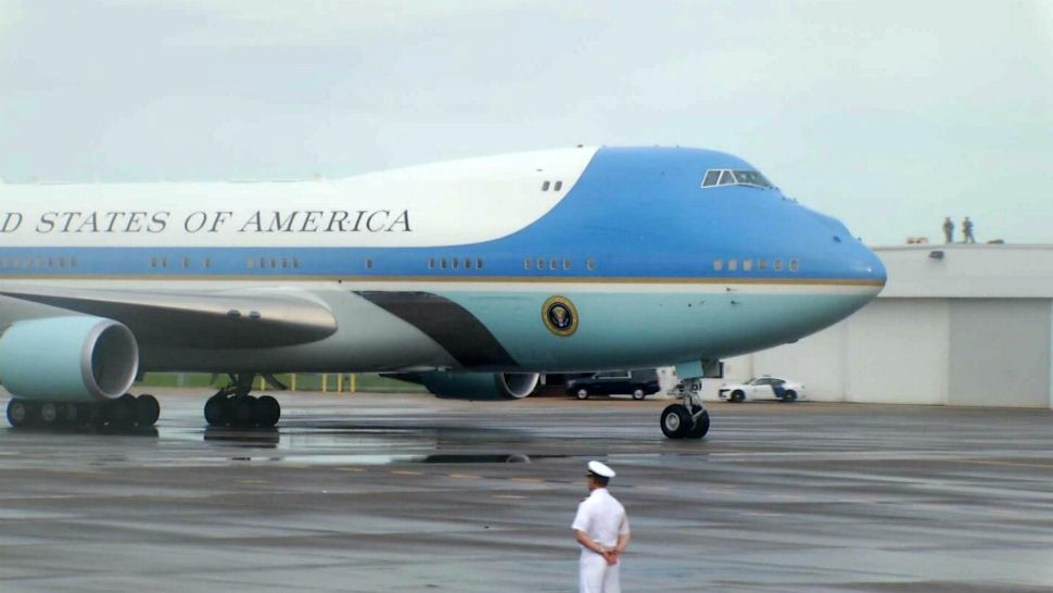 Air Force One, with President Donald Trump and first lady Melania Trump aboard, arrives at Orlando International Airport early Tuesday evening ahead of a campaign rally at the Amway Center. (Spectrum News)