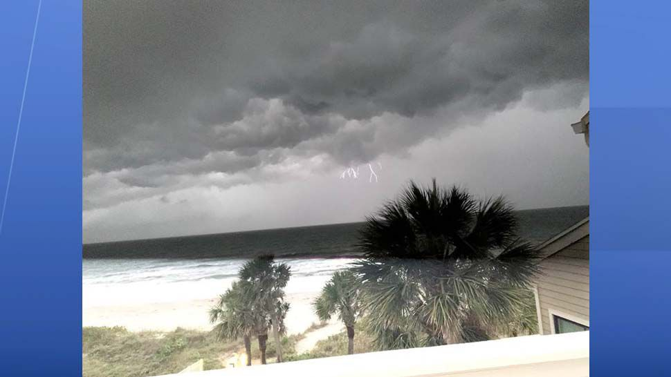 Lightning strike over Belleair Beach in Pinellas County. (Courtesy of viewer Barbara Scheible)