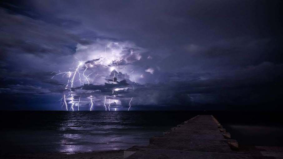 Lightning strike over Longboat Key in Manatee County. (Courtesy of viewer Matt Roback)