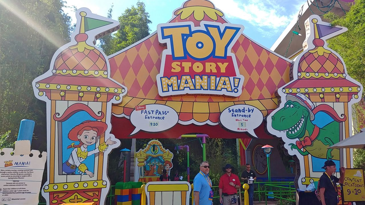 Toy Story Mania sports a brand-new entrance when Toy Story Land opens. It's modeled after a carnival game box and be accessible from the new land. (Ashley Carter, staff)