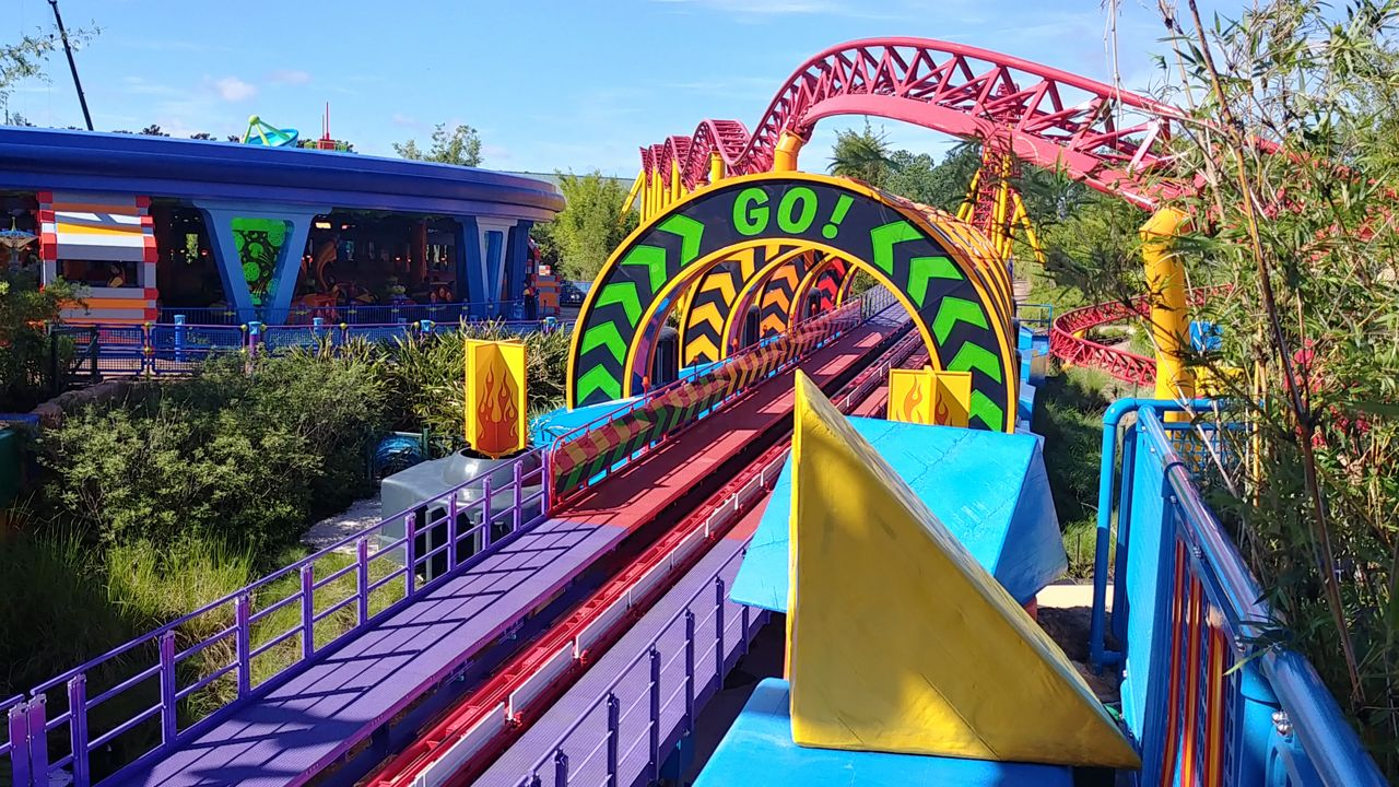 Slinky Dog Dash is a family-friendly roller coaster featuring ride vehicles modeled after Toy Story's Slinky Dog. (Ashley Carter, staff)