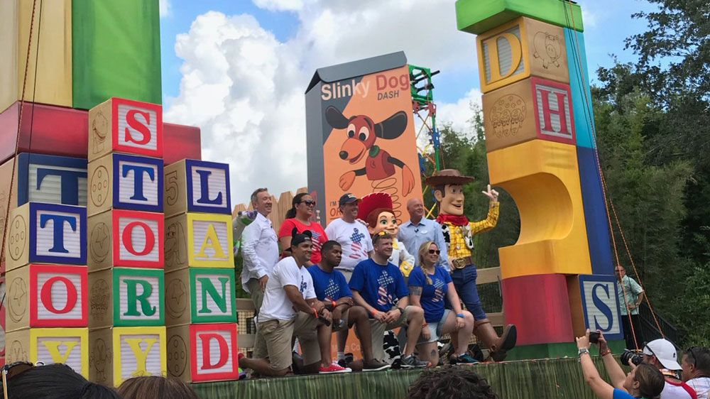 Tim Allen, who plays Buzz Lightyear in the Toy Story series, joined the characters for the grand opening of Toy Story Land at Disney's Hollywood Studios Friday. (Audrea Huff, Staff)