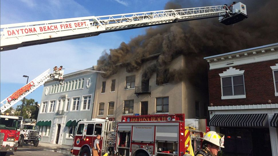 The Daytona Beach Fire Department tweeted out several photos and videos of the fire at the hotel at 124 Orange Ave. in Daytona Beach. (The Daytona Beach Fire Department)