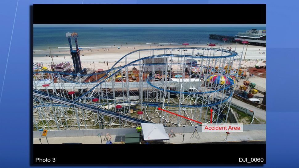 A photo from the engineering report on the Sand Blaster Roller Coaster derailment, showing where the accident happened. (Quest Engineering and Failure Analysis)