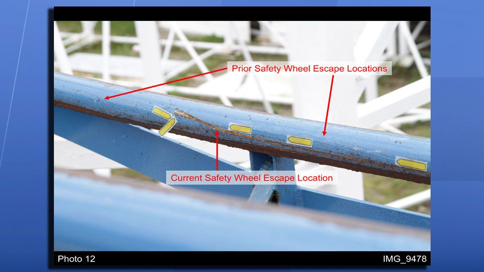 An image of the track in the accident area shows where the derailment occurred on the track, and evidence of previous derailment. (Quest Engineering and Failure Analysis)