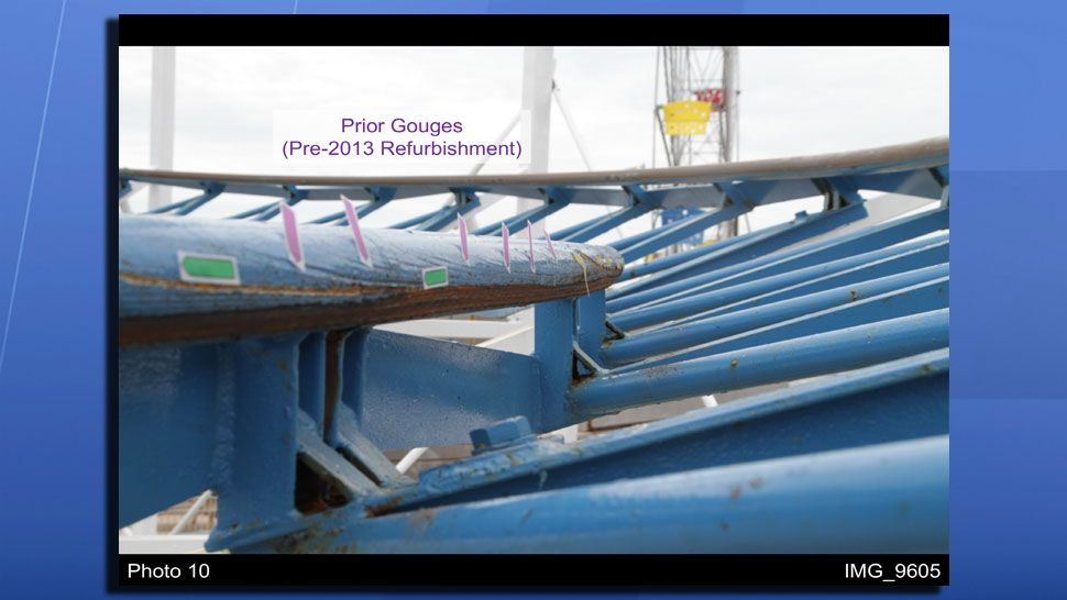 Evidence of prior gouging on the track of the Sand Blaster Roller Coaster. (Quest Engineering and Failure Analysis)