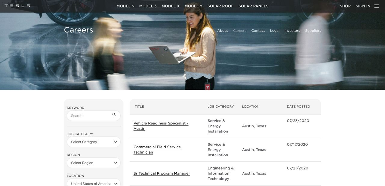 Tesla has already posted job listings for its Travis County facility (photo credit: Tesla)