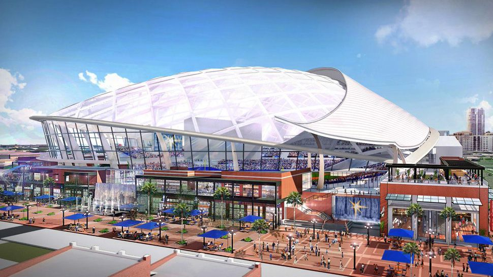 Rendering of proposed Rays ballpark in Ybor City