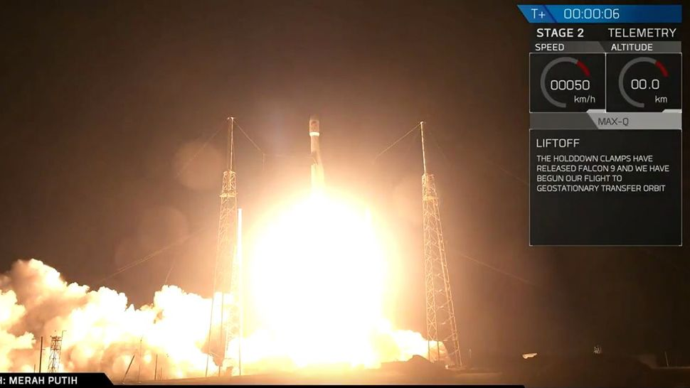 SpaceX's Falcon 9 rocket launched an Indonesian communications satellite into orbit early Tuesday morning. (SpaceX)