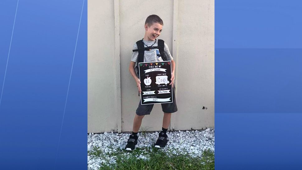 This guy is starting fifth grade today and he wants to be a police officer when he grows up. (Devin Kennedy, viewer)