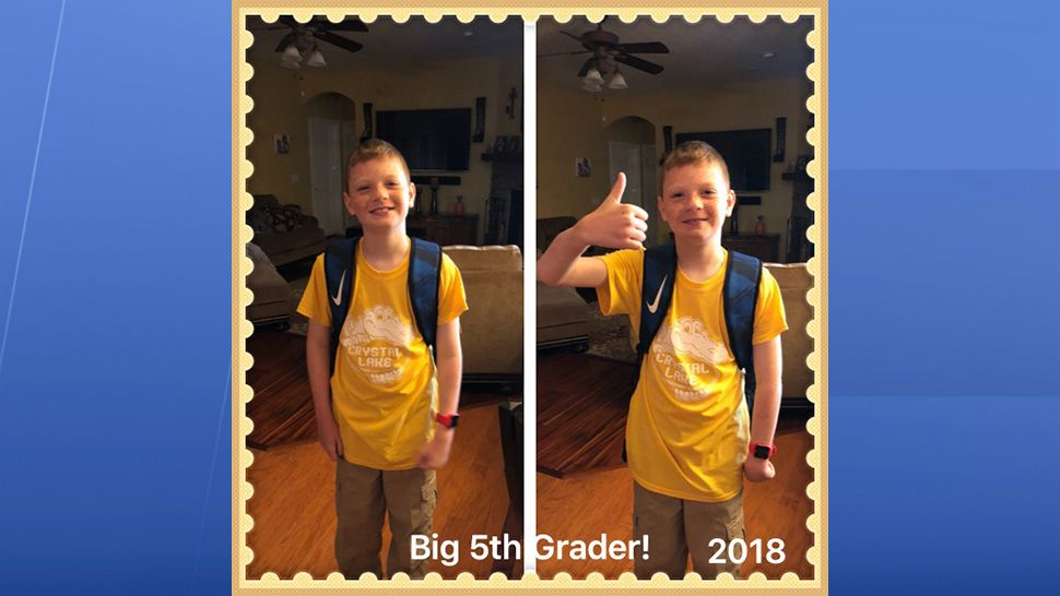 Submitted via the Spectrum News 13 app: Tyler is first day as a big 5th grader at Crystal Lake Elementary School in Seminole County. (Gina Holbrook, viewer)