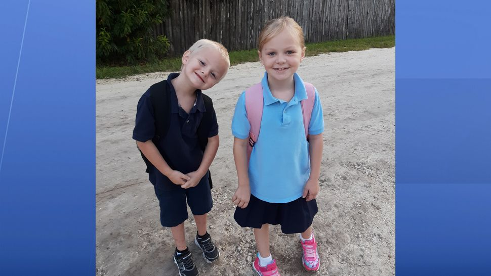 First day of kindergarten and 2nd grade for Angela's kids!