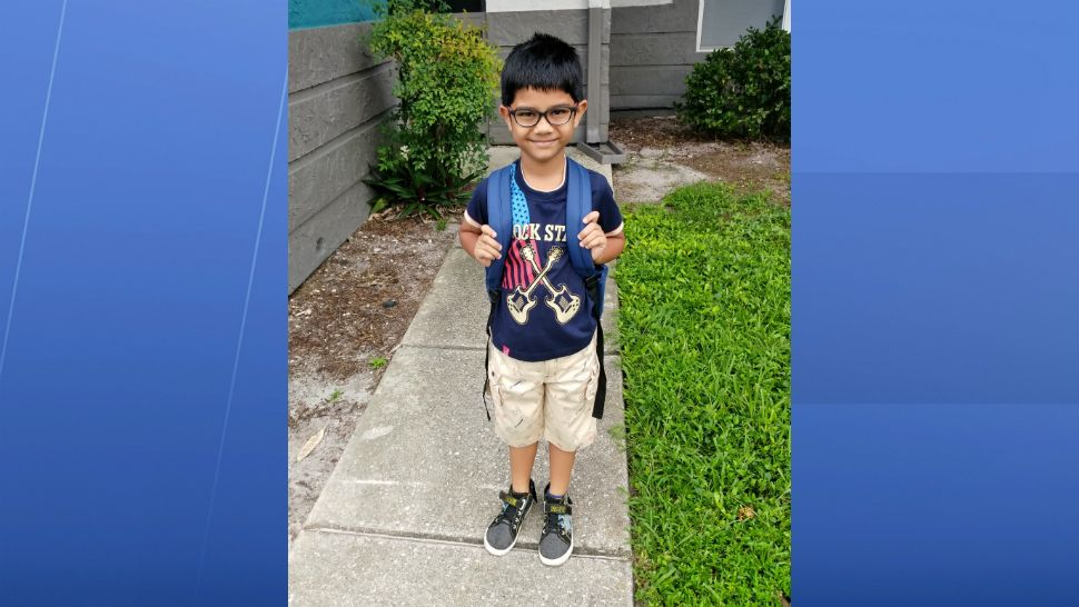 Sent to us with the Spectrum News 13 app: Heading to 1st grade in Melbourne! (Vishal Puradkar/viewer)