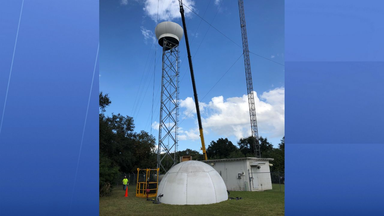 The old radome for StormTracker 13, partly disassembled.