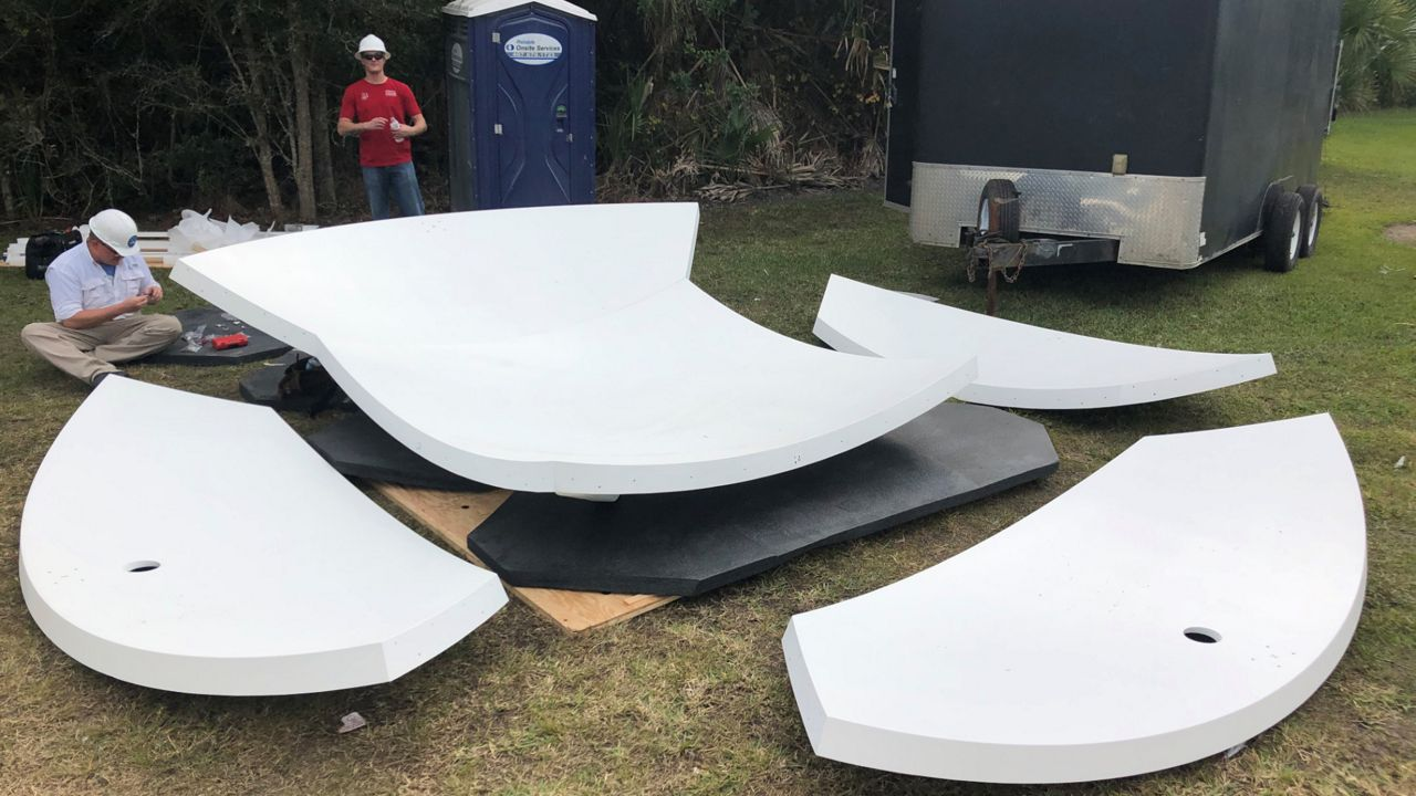 Klystron 13's new radome before installation at Spectrum News 13's tower in Cocoa.