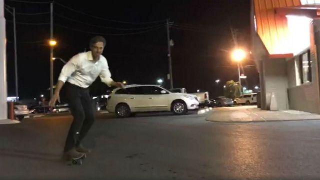 Beto O Rourke Shreds On Skateboard At Whataburger