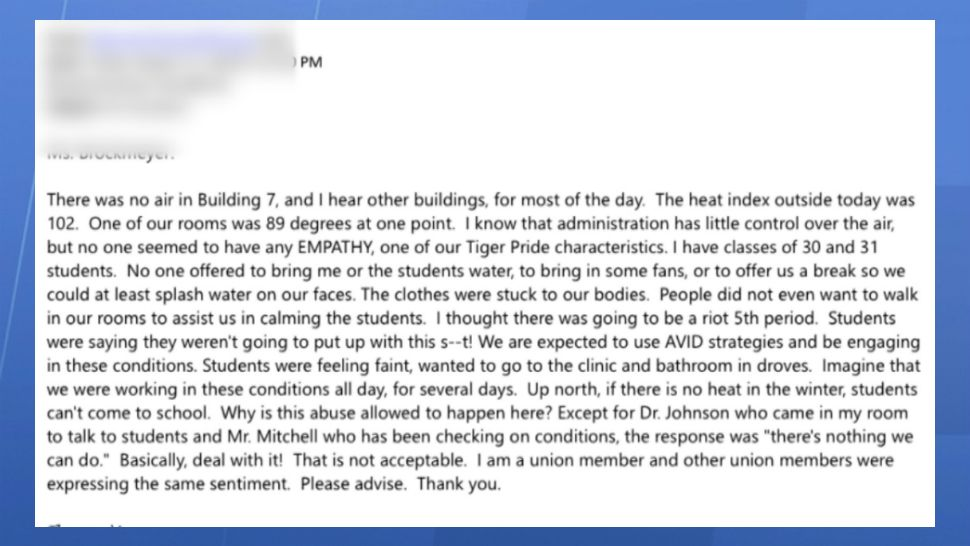 Screen shots of emails and Facebook messages show correspondence between teachers and administration regarding the high temperatures in some Brevard County classrooms.