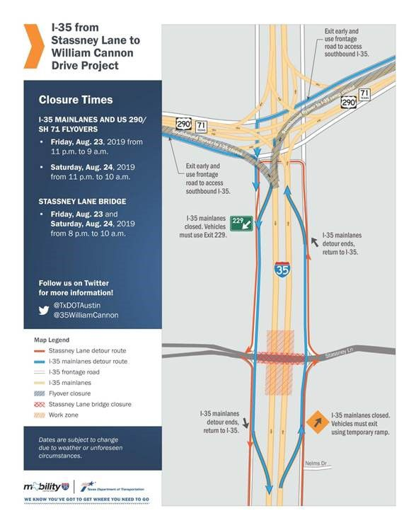 Map Of Texas I 35.Major Lane Closures Planned For I 35 In South Austin