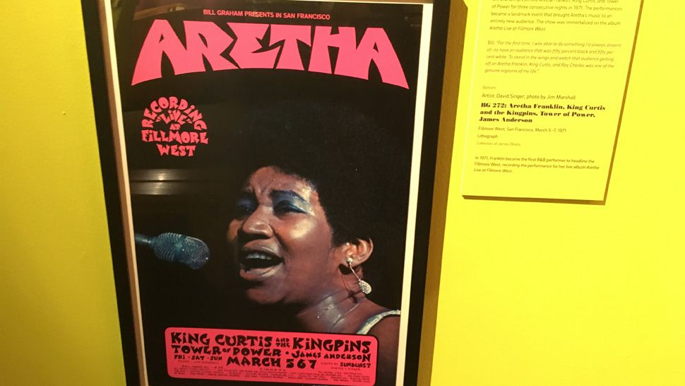 "Vintage poster promoting a live recording at Graham's Fillmore West venue headlined by Aretha Franklin, part of the ""Bill Graham and the Rock and Roll Revolution"" exhibit at the Florida Holocaust Museum, on display through February 2019."