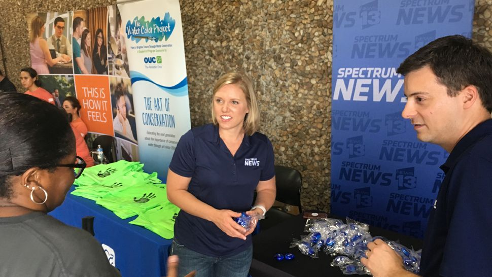 Spectrum News 13 meteorologists Mallory Nicholls and David Heckard, along with anchor Eric Levy, welcomed about 300 teachers from Orange and Osceola counties back to school at A Gift for Teaching in Orlando.