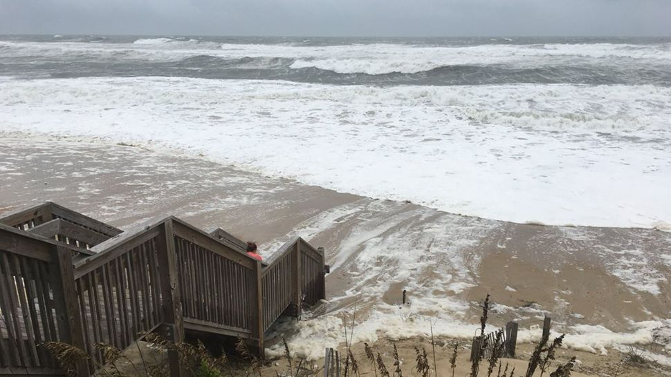 A shot from along the beachfront in Nags Head as the outer bands of Hurricane Florence arriving. (Kevin Frey, staff)