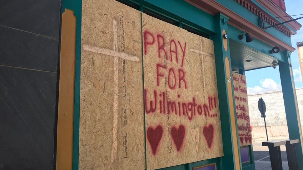 Wilmington, N.C., businesses boarded up in downtown before the arrival of Hurricane Florence. (Greg Pallone, staff)