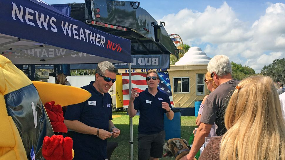Spectrum News 13 joined 23,000 attendees at the Pig on the Pond festival in Clermont benefitting Project Scholars in March of 2019. Chief Meteorologist Bryan Karrick, meteorologists Chris Gilson, Maureen McCann, and Mallory Nicholls, anchors Eric Levy and Ybeth Bruzual as well as Lake County reporter Dave DeJohn greeted families and festival goers and handed out Spectrum News 13 car phone chargers and Project Weather Activity Books.