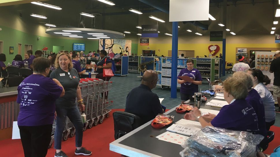 Spectrum News 13's meteorologists David Heckard and Mallory Nicholls, along with anchor Eric Levy, welcomed about 300 teachers from Orange and Osceola counties back to school at A Gift for Teaching in Orlando.