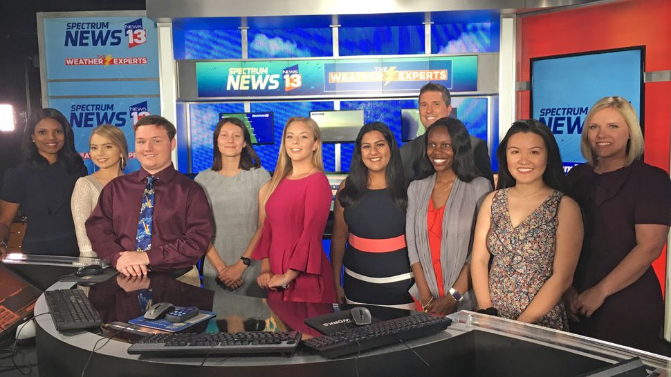 Left to right: Sofia Pintado, Nicholas Smith, Elizabeth Pruitt, Jenni Reed, Ann-Marie Derias, Latoria Brown, and Tran Le with News 13 Chief Meteorologist Bryan Karrick in the back and News 13 Meteorologist Mallory Nicholls on far right. Far left, Tammie Fields also helped present the awards.