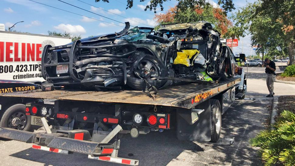 Florida Highway Patrol trooper Tracy Vickers' patrol car was severely damaged during the crash on State Road 408 on Friday, September 27, 2019. (Asher Wildman/Spectrum News 13)
