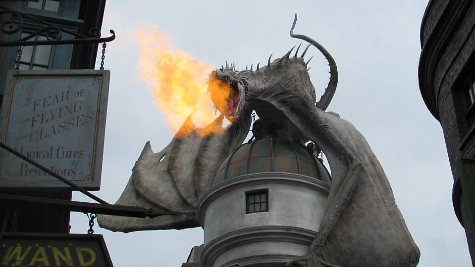 The dragon on top of Gringotts Bank at Universal's Wizarding World of Harry Potter -- Diagon Alley. Celebration of Harry Potter, the weekend festival that was spread across Universal's Potter lands, will not return in 2019. (Christie Zizo, Staff)