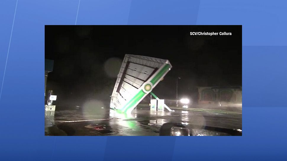 Damage at a BP gas station from Hurricane Florence. (Spectrum News North Carolina)
