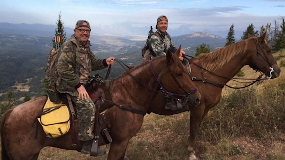 Corey Chubon (right) was on an elk-hunting trip in Wyoming with his father and a guide when he says he and the guide, Mark Uptain, were attacked by a couple of grizzly bears.