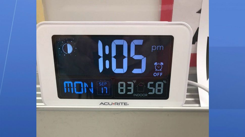 A gauge at Central Middle School reads a temperature of well above 80 degrees in this image sent to us by a teacher at the school who requested to remain anonymous.