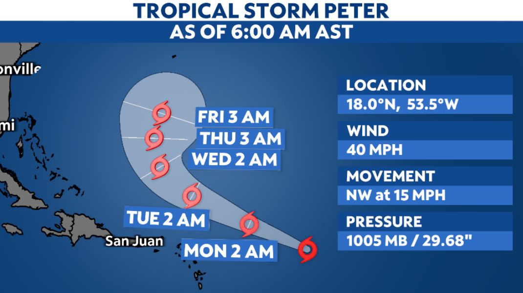 Tropical Storm Peter forms east of the Lesser Antilles