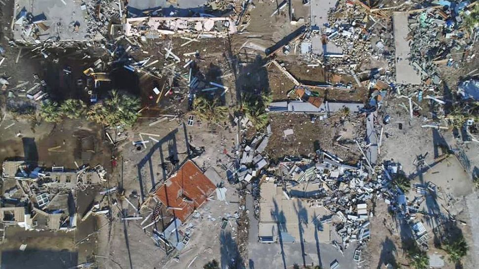 An overhead view of Mexico Beach from Drone 13. The image shows the destruction caused by Hurricane Michael. (Tony Rojek/Spectrum News)