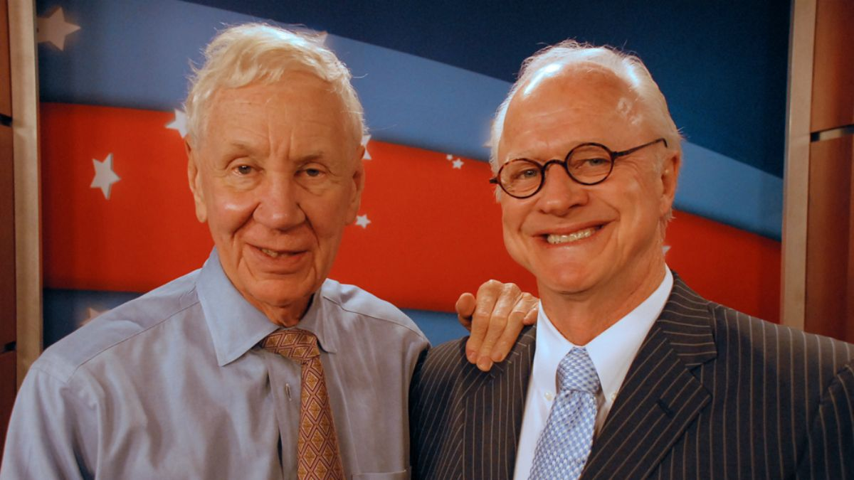 Lou Frey (left) often appeared on Spectrum News 13 with fellow political analyst Dick Batchelor. (File)