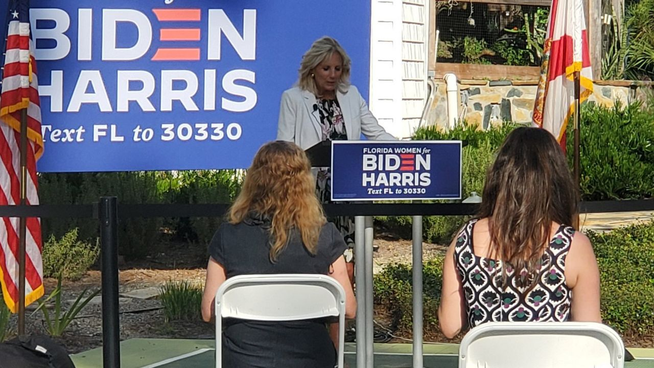 Dr. Jill Biden speaks at a Women for Biden event in Lake Mary, Friday, October 16. (Cheryn Stone, Spectrum News)