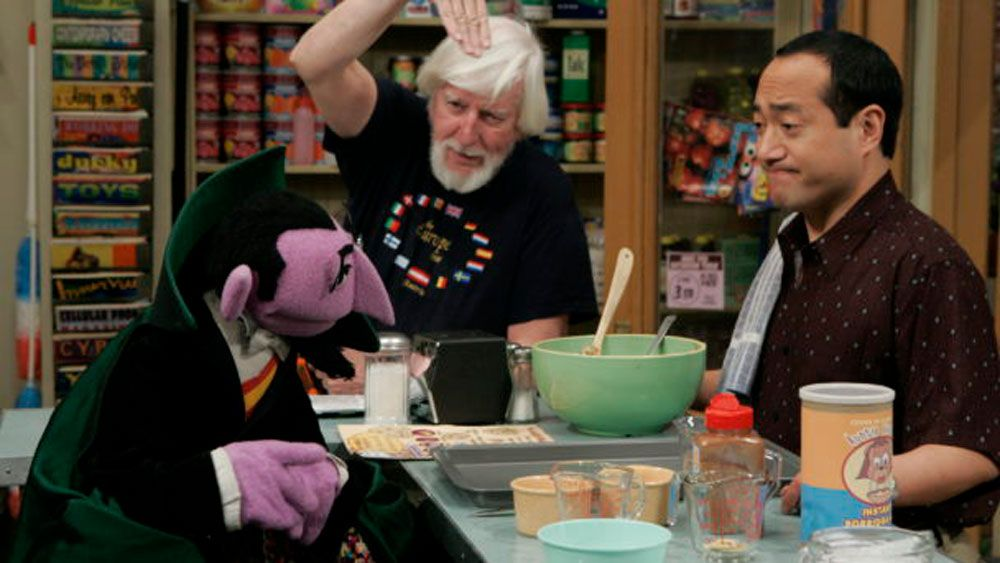 Caroll Spinney behind the scenes on Sesame Street. (Sesame Street)