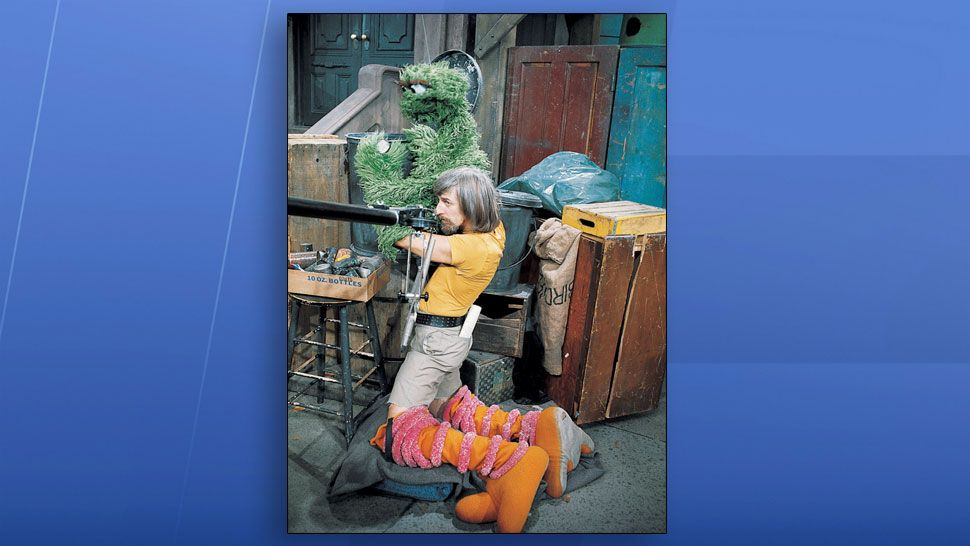 Caroll Spinney on the set of Sesame Street. (Sesame Street)