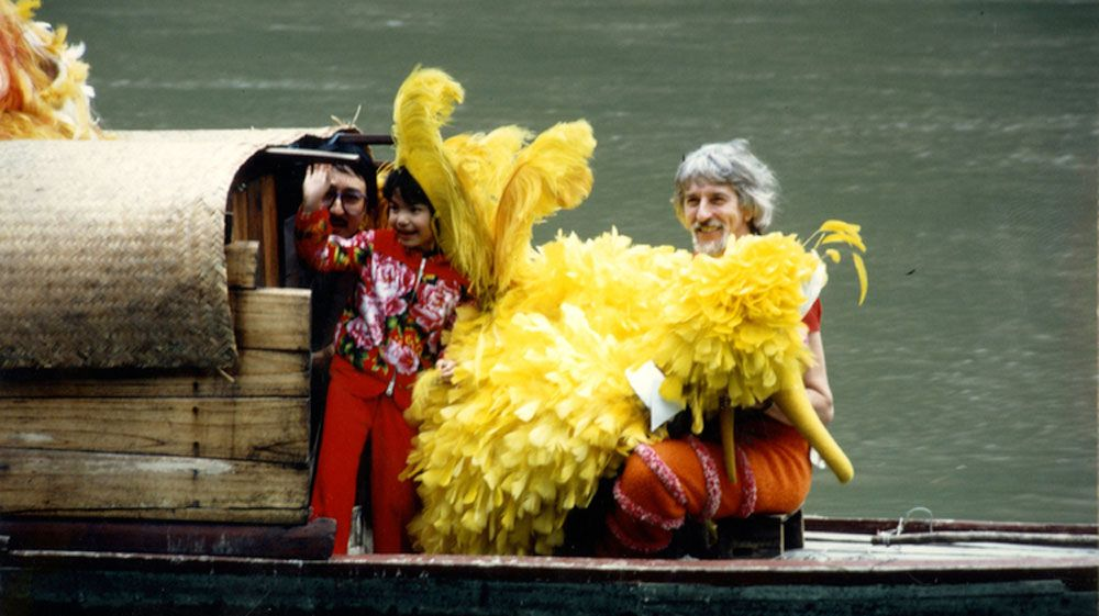 Caroll Spinney in China as Big Bird. Playing the cultural icon took Spinney all over the world. (Copper Pot Pictures)