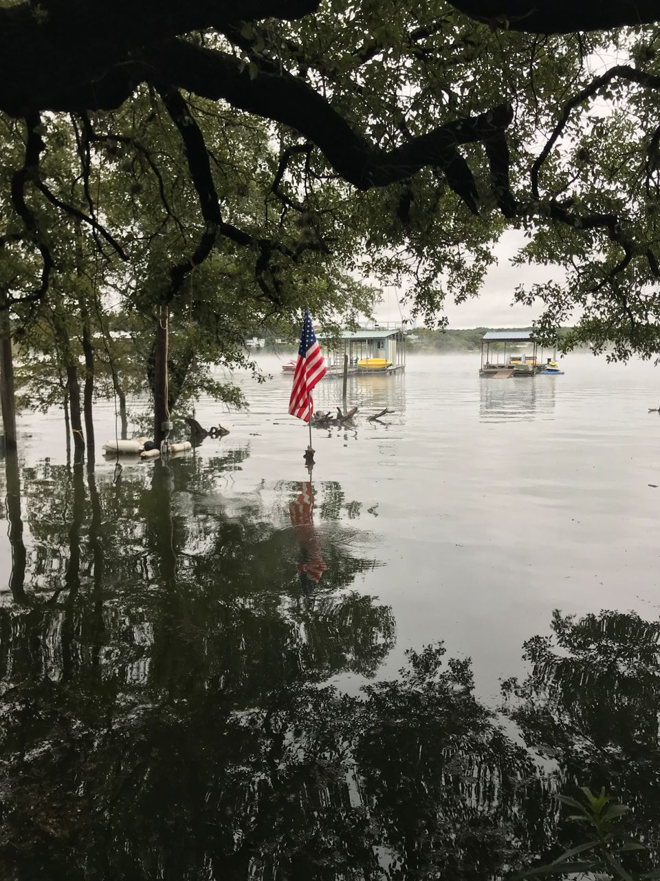 Flooding at Graveyard Point as Lake Travis levels continue to rise.