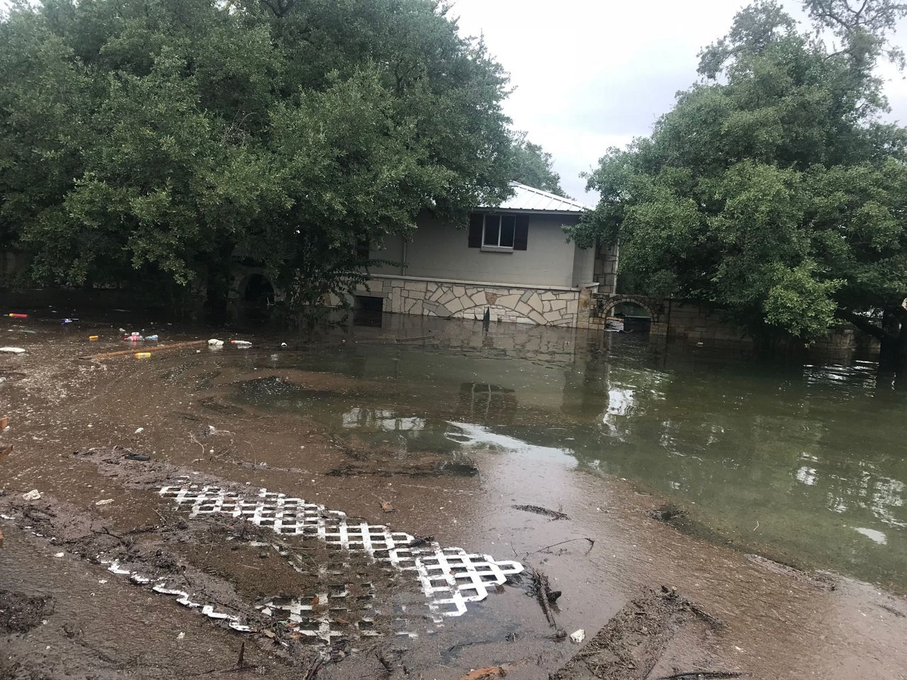 Homes flooding in Lakeway at Hurst Hollow and Hurst Creek Road as Lake Travis continues to rise.