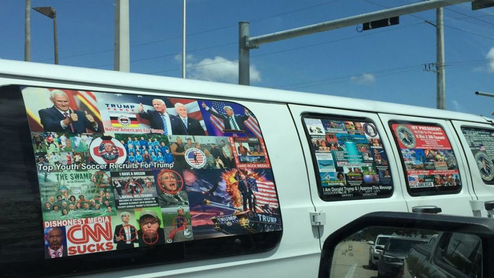 Officials say Sayoc's white van is covered in pro-Trump stickers and anit-democratic stickers. (CNN)