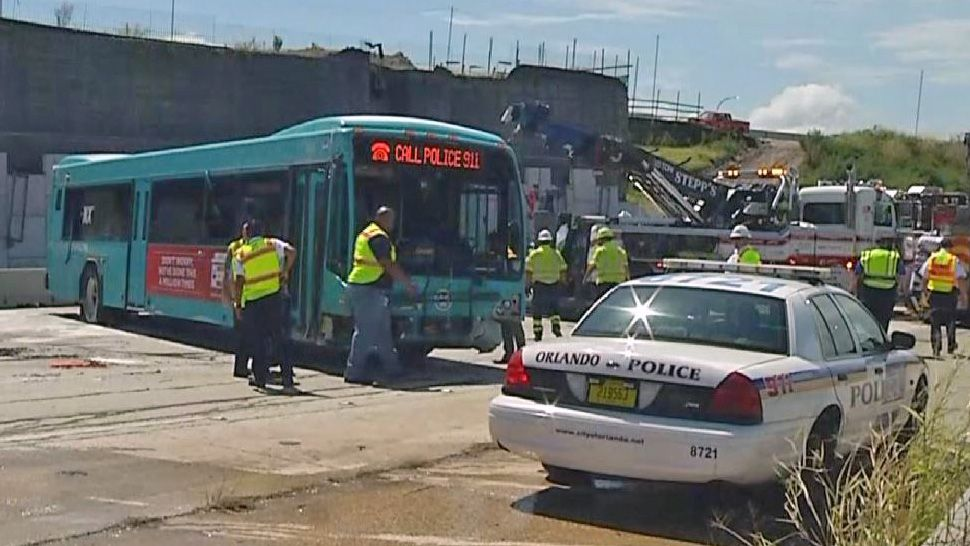 An overturned Lynx bus on Interstate 4 was put upright. Nine people were transported to hospitals. (Sky 13)
