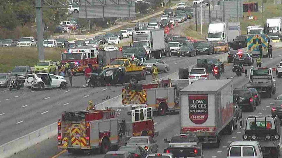 I-35 accident Woodward Street