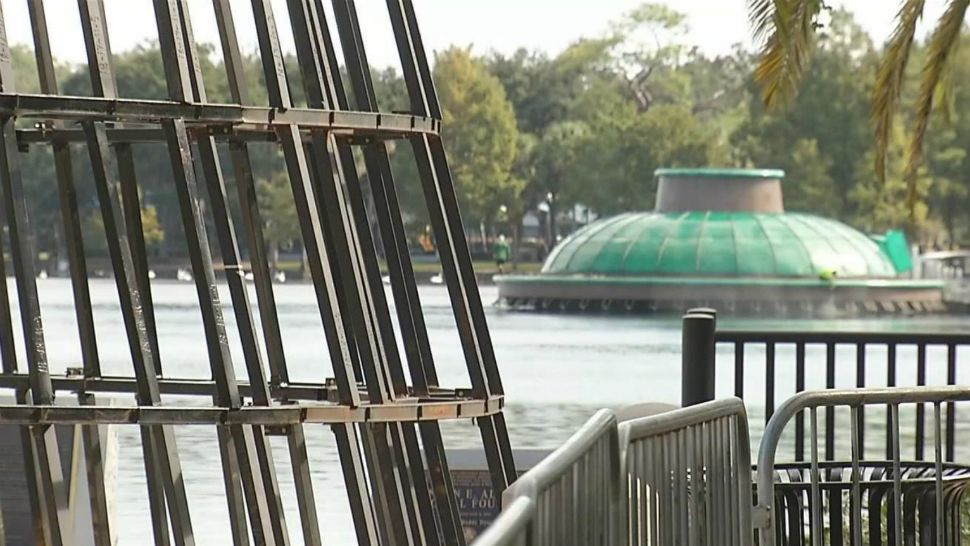 Workers are bolting the frame together on the city of Orlando's Christmas tree at Lake Eola Park. The official lighting ceremony is Friday, November 30. (William Claggett/Spectrum News 13)