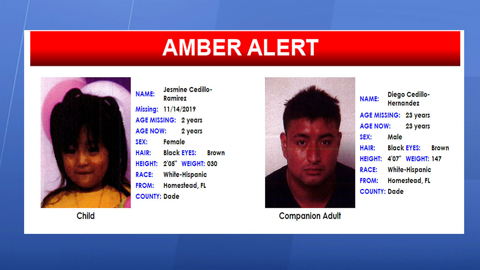 Amber Alert Issued For 2 Year Old Homestead Girl Canceled