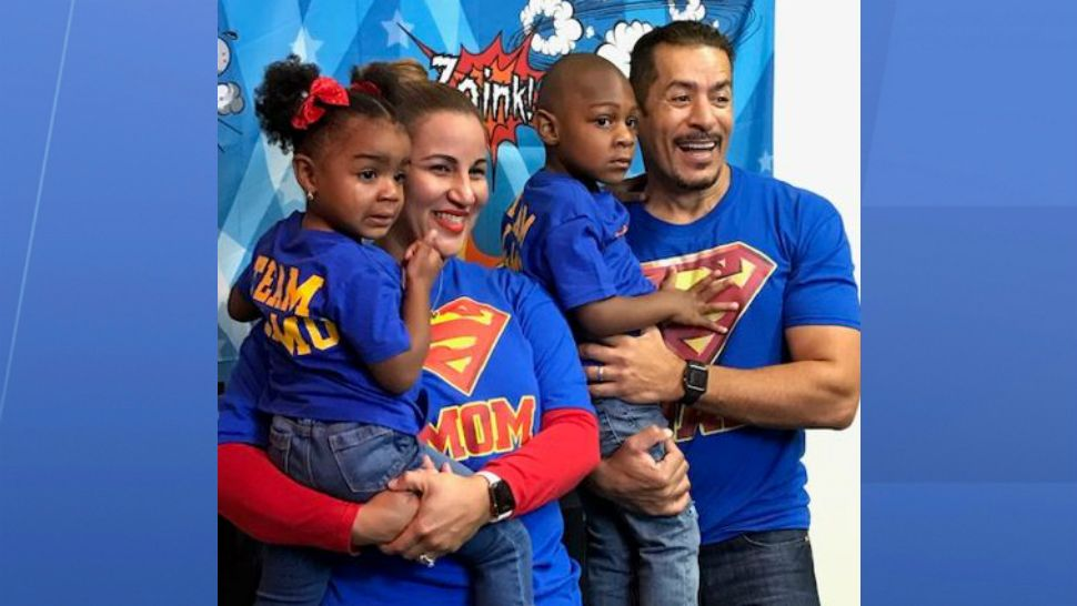 Dairy and Fernando Alamo, of Orange County, adopted 3-year-old Jayla and 1-year-old Jacori on National Adoption Day on Friday, November 16, 2018. (Courtesy of Community Based Care of Central Florida)